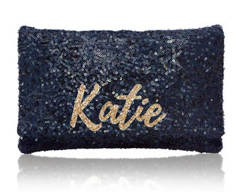 Personalized name monogram sequin clutch purse navy