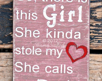 "There's This Girl, (Large, 10""x14"") Weathered Wood Wall Art"