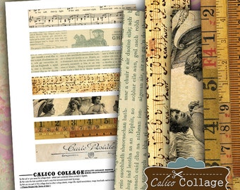 Ephemera Strips Digital Collage Sheet 1x6 Border Images, Scrapbooking, Art Journal, Digital Download, Digital Borders, Digital Strips