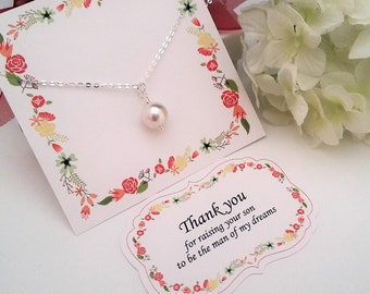 MOTHERS DAY GIFT, Mother in Law Gift, Mother of the Groom Gift from Bride,Thank you for Raising the Man of my Dreams Necklace Pearl Necklace