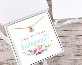 Bridesmaid Proposal Gift, Will You Be My Bridesmaid, Rose Gold Initial Necklace, Dainty Necklace, Maid of Honor Proposal - (FPS0021)