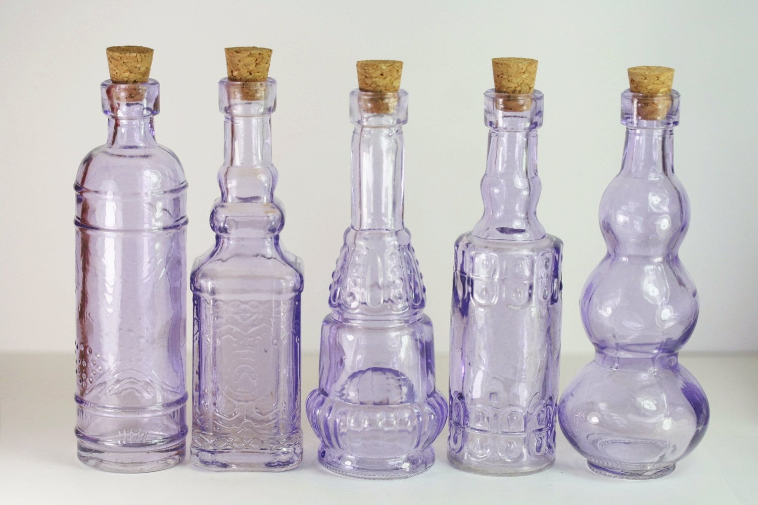 Set of 10 Purple Glass Bottles 4.5 in Lilac Bud Vase Lilac