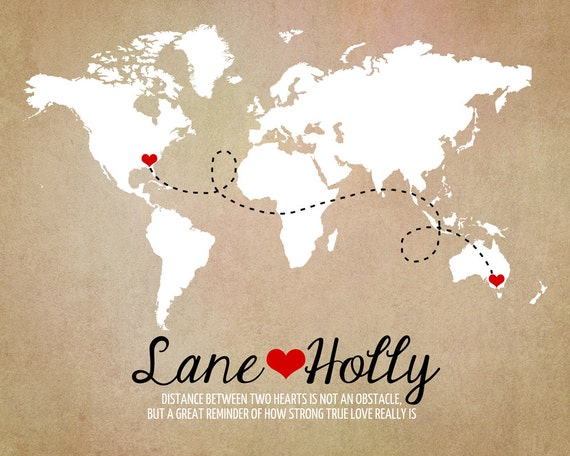 Long distance world map rustic wedding gift art print like this item gumiabroncs Image collections