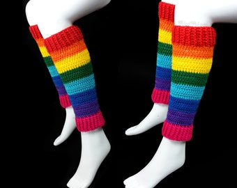 Rainbow Leg Warmers, Chunky Leg Warmers, Kawaii Leg Warmers, Rave Leg Warmers, Yoga Leg Warmers, Cosy Boot Socks, Unusual Gift, Gift for Her