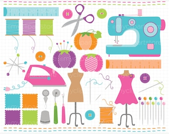 Clipart - Seamstress / Sew Adorable / Sewing - Digital Clip Art (Instant Download)