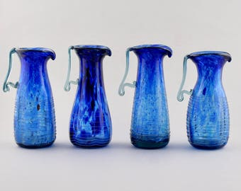 Blue Murano Decorative Art Glass Pitcher [8337]