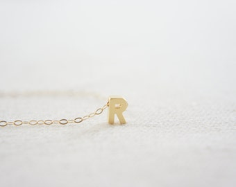 """gold Letter, Alphabet, Initial  capital """"R"""" necklace, birthday gift, lucky charm, layered necklace, trendy"""