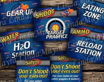 Dart toy gun theme Birthday Party Digital signs
