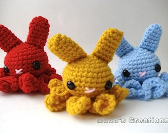 Octo-Bun - Amigurumi Octopus Bunny Rabbit with Keychain or Ornament Options - Custom Color Options
