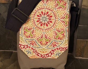 Small Vertical/Large Colorful Mandala Messenger Bag, Green with adjustable strap