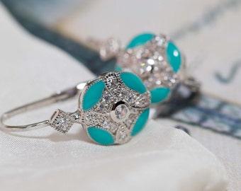 Sterling silver turquoise enamel earrings - 1920's design / art deco earrings / enamel earrings / looped back earrings / mint blue earrings