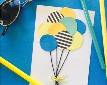 Yellow and blue bunch of balloons - Birthday Card