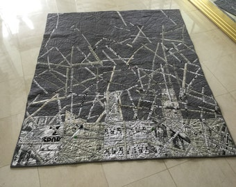 """Quilted""""shredded newspaper"""" wall  hanging, couch throw"""