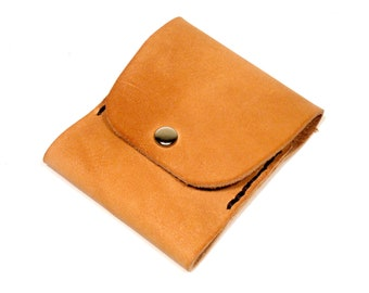 Thin, Slim Wallet for Cards & Cash. Tan Leather. Contrast Stitching. Man-made.