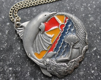 """English Pewter Enamelled Mermaid with Dolphin, Sunset, Pendant, Vintage, 18"""" chain"""