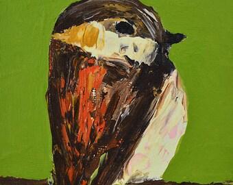 Brown Sparrow Bird Painting Print. Wildlife Animal Portrait. Green Living Room Wall Decor. 92