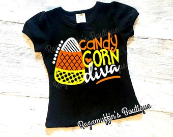 Halloween shirt, Candy Corn shirt, Girls halloween shirt, toddler halloween shirt, Halloween top, Candy Corn Diva shirt