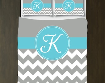 Grey-Aqua Blue-White Chevron Duvet Cover Bedding Set-Personalized-Monogram Initial-Customize-ANY COLORS-Twin XL/Full/Queen/King-Preppy Decor