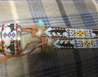 Cowboy beaded hat band and matching beaded metal cuff