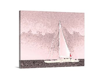 Sailing Art, Pink Art, Sailboat Print, Rhode Island Art, Sailboat Art, Sailing Decor, Nautical Art, Sailboat at Sea, Block Island Art