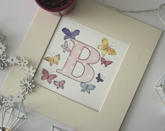 Butterfly initial, name art, nursery wall art
