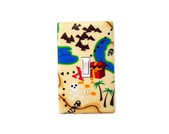 Treasure Island Light Switch Cover - Pirate Switch Plate - Nautical Nursery Decor - Boys Pirate Bedroom - Pirate Bathroom Light Switch Plate