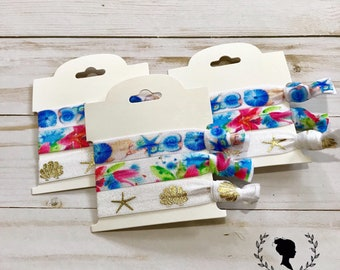 Shell and Floral Hair Tie Set