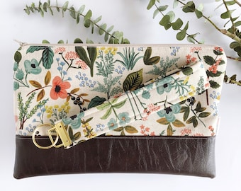 Floral Leather Clutch with Matching Key Chain | Herb Garden Print | Purse Clutch | Vegan Leather Clutch