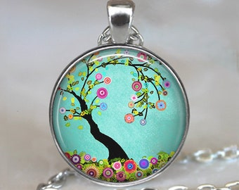 Flowering Tree necklace, Flowering Tree pendant tree jewelry spring jewelry Easter jewelry flower jewelry key chain key ring fob