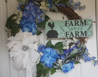 Farm House wreath , country, Front door decor, mothers day, birthday, housewarming, spring, summer