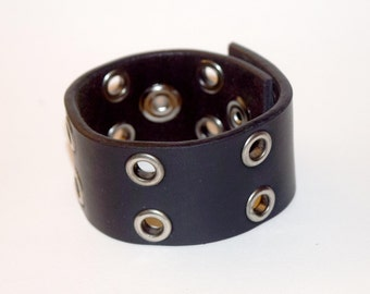 Leather Wrist Cuff Bracelet Upcycle grommet belt goth by Raptor Arts