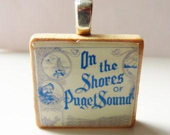 On the Shores of Puget Sound - vintage sheet music Scrabble tile pendant