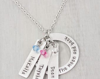 Personalized Hand Stamped Jewelry - I love you to the moon and back - Personalized Necklace - Mothers Necklace - Grandma Necklace  Gift