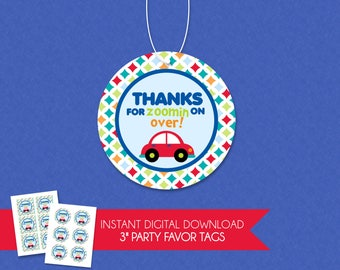 Adorable Thanks For Zoomin on Over Car Birthday Party Thank You Favor Tag - INSTANT DOWNLOAD - Transportation Trucks Planes Cars