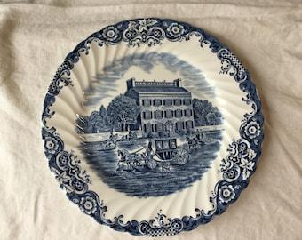 Vintage Heritage Hall / Blue Ironstone Transferware Dinner Plate / Staffordshire England / Johnson Brothers / Georgian Townhouse