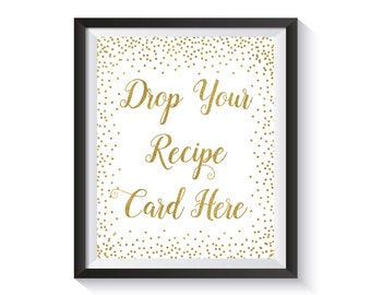 Bridal Shower Recipe Sign, Drop Your Recipe Card Here, Gold confetti Bridal Shower Sign,  Bridal Shower Games, Wedding,  Bridal Shower Décor