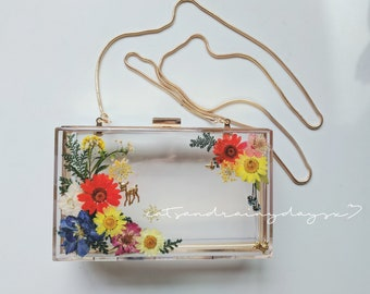 In stock: Pressed flower resin clutch bag evening bag