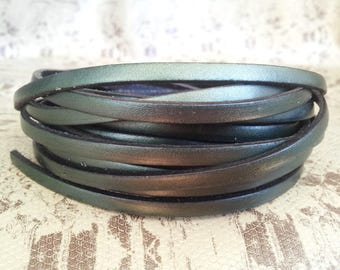Green metal 5mm flat leather European quality
