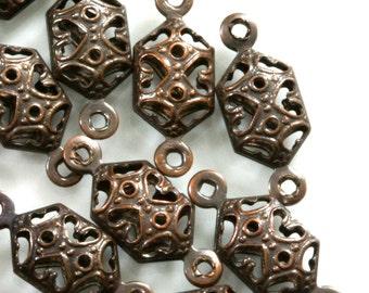 90 Pcs Antique Copper Tone Brass 15x6 mm 2 hole connector Charms ,3D Findings 907AC-20 tmlp