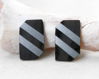 Art Deco Cabochons Diagonal Geometric Black Onyx Silver Vintage for Jewelry Making