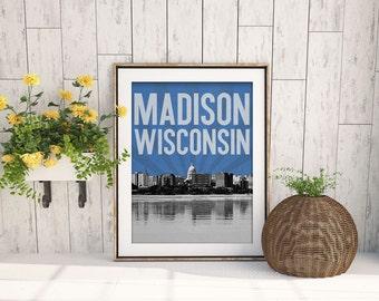 Madison Wisconsin City Skyline - choose your color - custom wall art - wedding - housewarming gift souviner