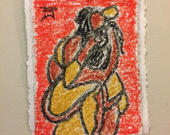 Nude Art female figure drawing | oil pastel | abstract art | wall art | fine art | modern art | cotton paper | 8.5x11 inches