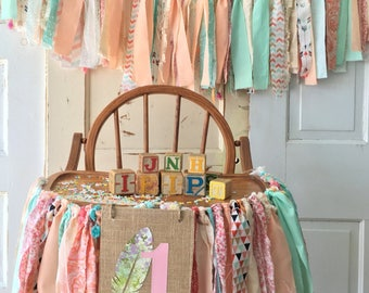 First Birthday Decoration Girls High chair Decoration. Boho Dream Catcher Style High Chair Banner with Burlap Flag. Coral and Mint