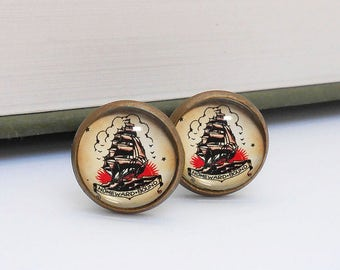 Tattoo Ship Nautical Cufflinks Cuff Links Vintage Style Bronze Beach Wedding Groom Groomsmen