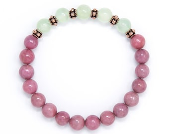 Mala Bracelet, Spiritual Jewelry, Wrist Mala Beads, Buddhist Bracelet, Rhodonite & Prehnite - Emotional Healing, Relaxation,Spiritual Growth