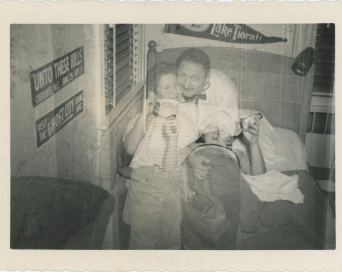 Double Exposure: Sick Boy Made Well! Vintage Snapshot Photo, 1955 [84663]