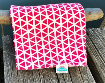 NEW!  hot pink triangles | organic cotton t-shirt hair towel