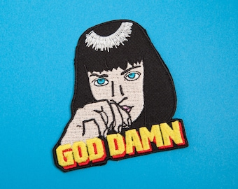 Mia Wallace Inspired Patch - Made with Vegan Iron-On Adhesive - Embroidery DIY Customise Uma Thurman Pulp Fiction '90s God Damn Stoner