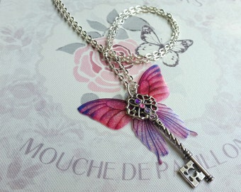 Beautiful Pink & Purple Butterfly-winged Key Pendant (with silver-plated chain)