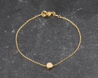 Dainty Bracelet, Tiny Gold Dot, Delicate Fine Chain, Simple Minimalist Bracelet, Single Gold Circle Bead